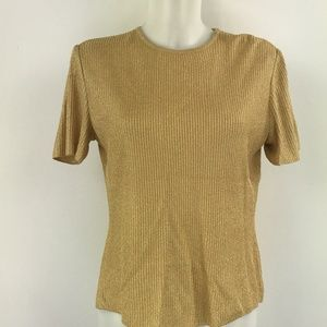 St. John Gold Short Sleeve Knit Top Size Small
